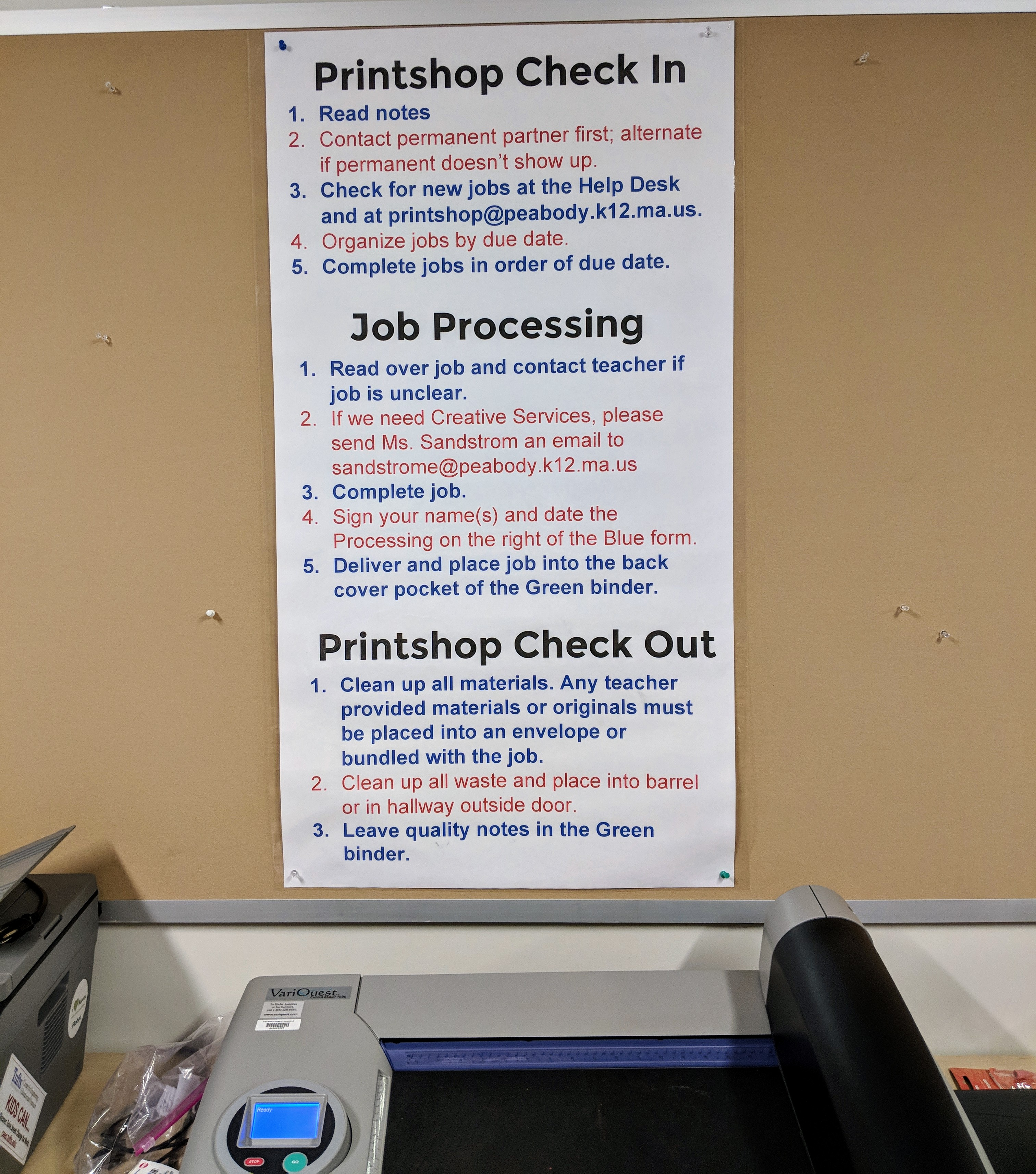 higgins middle school printshop poster Counts VariQuest tools