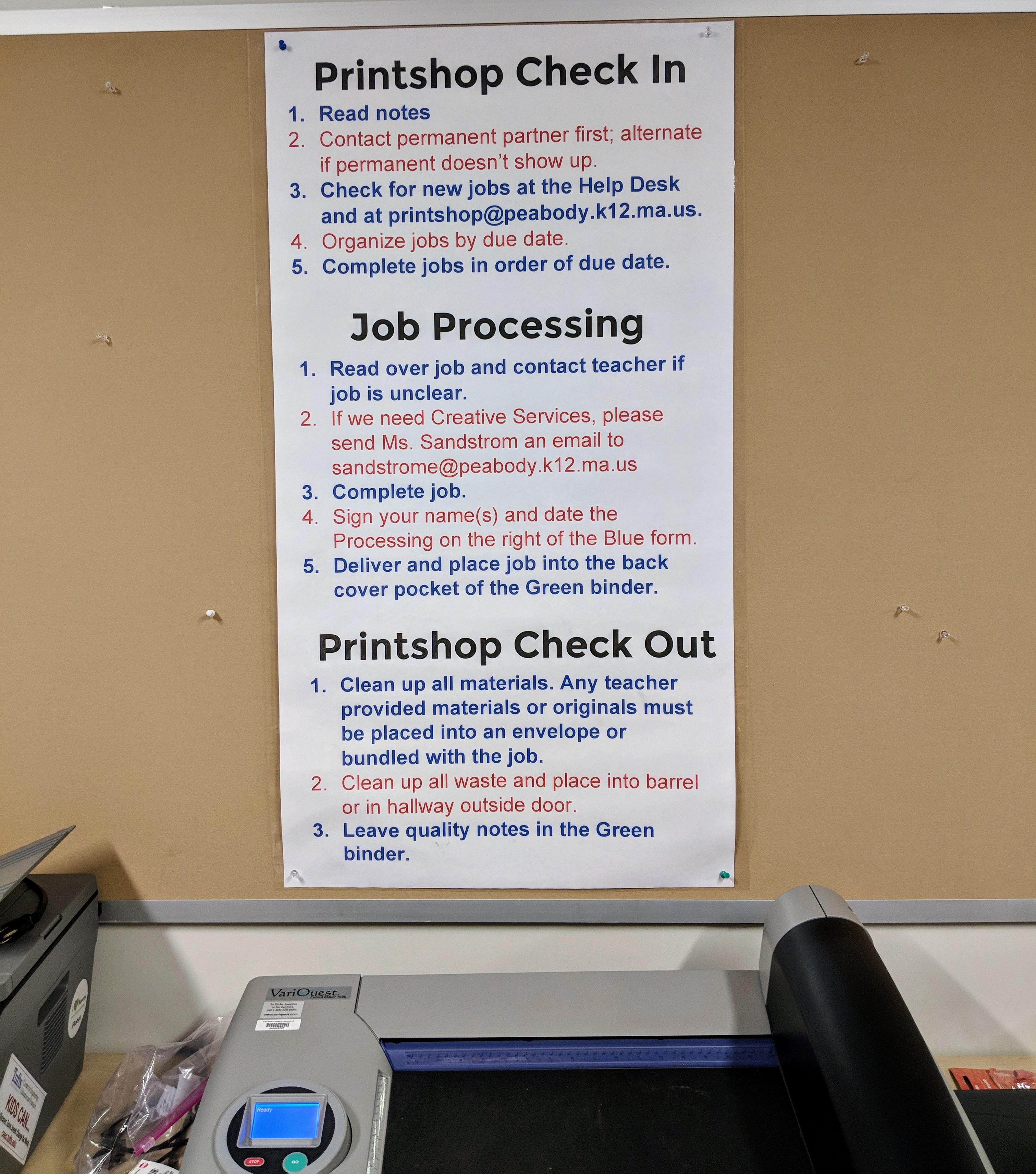 higgins middle school printshop poster Counts VariQuest tools