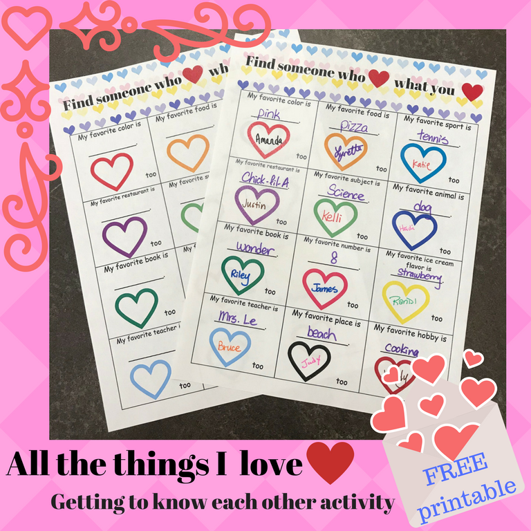 Valentine's Day Classroom Activity - Find who loves what you love!